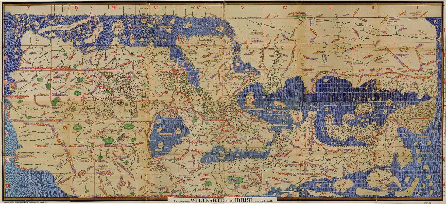 The modern copy of the Tabula Rogeriana by Arabian Geographer Al-Idrisi. The map is turned upside-down in accordance with the European cartogtraphic tradition which orients North up. Source: Wikimedia Commons