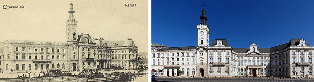 The Jabłonowski Palace, Warsaw, before the year 1913, photo: BP Polona. The Jabłonowski Palace in Warsaw's Theatre Square, 2009, photo: Marcin Białek/wikimedia.org