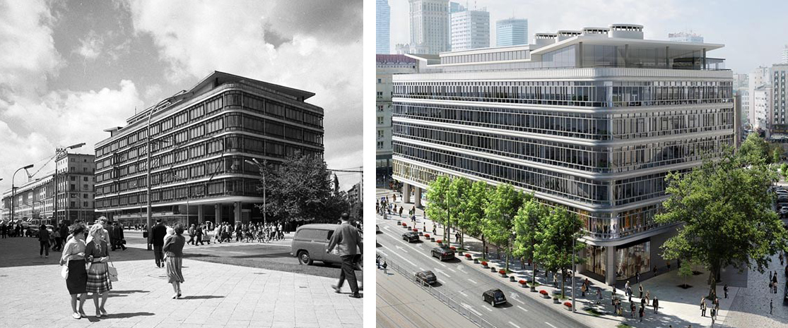 The CDT Department Store, 1963, Warsaw, photo: Zbyszko Siemaszko/Forum. The reconstruction of CDT, a visualisation from 2017, photo: Immobel Poland